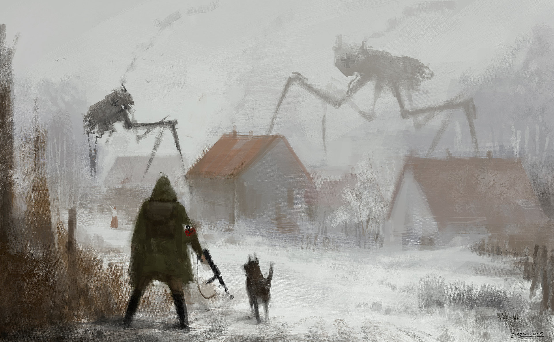 Jakub_Rozalski_-_1920 big spider on the roof