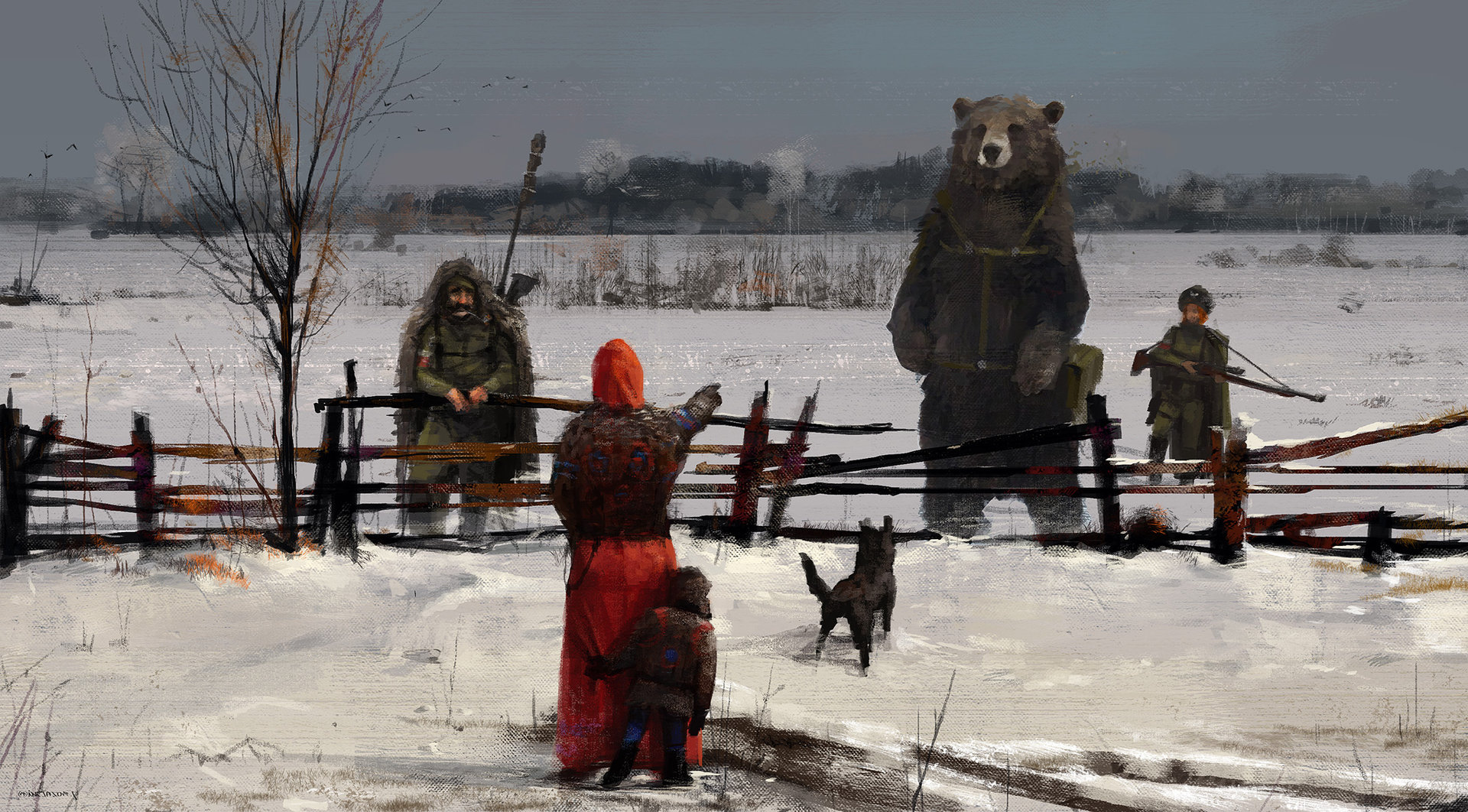 Jakub_Rozalski_-_1920 strange visitors